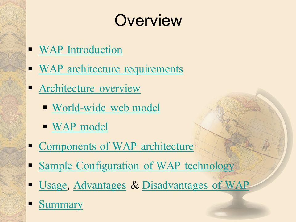 Overview WAP Introduction WAP architecture requirements