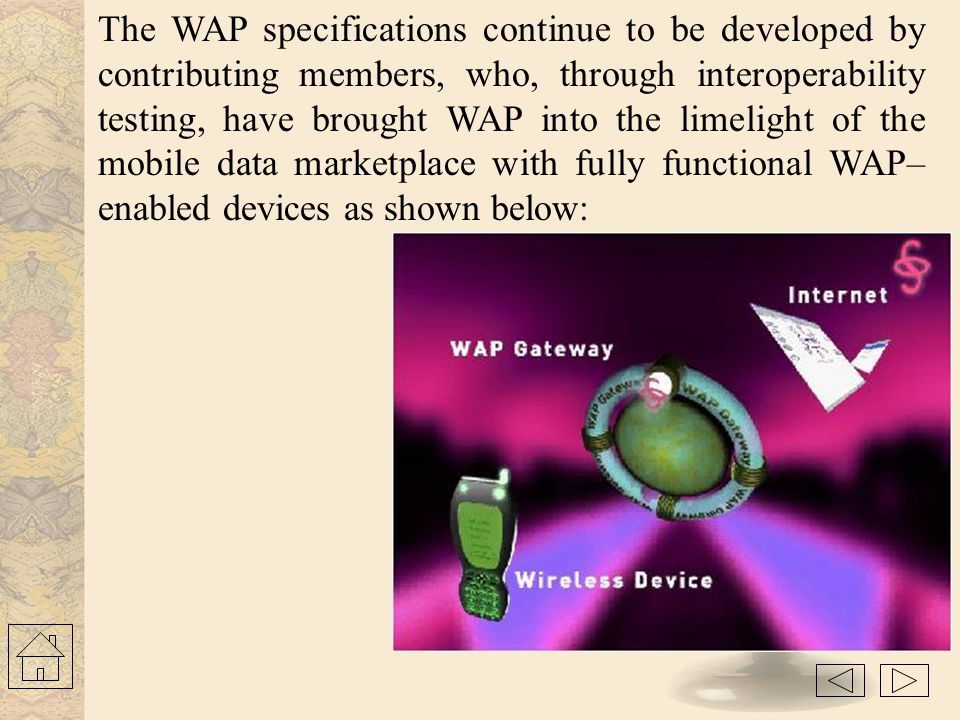 The WAP specifications continue to be developed by contributing members, who, through interoperability testing, have brought WAP into the limelight of the mobile data marketplace with fully functional WAP–enabled devices as shown below: