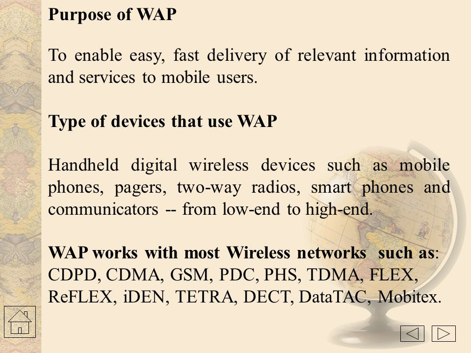Type of devices that use WAP