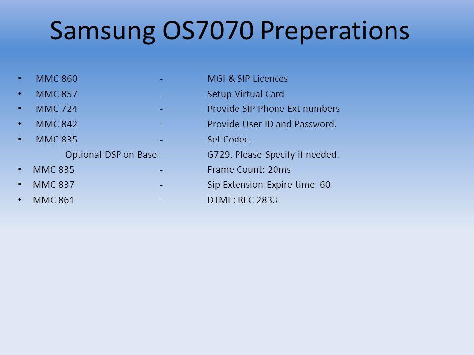 Samsung OS7070 Preperations