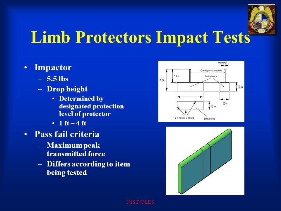 Limb Protectors Impact Tests
