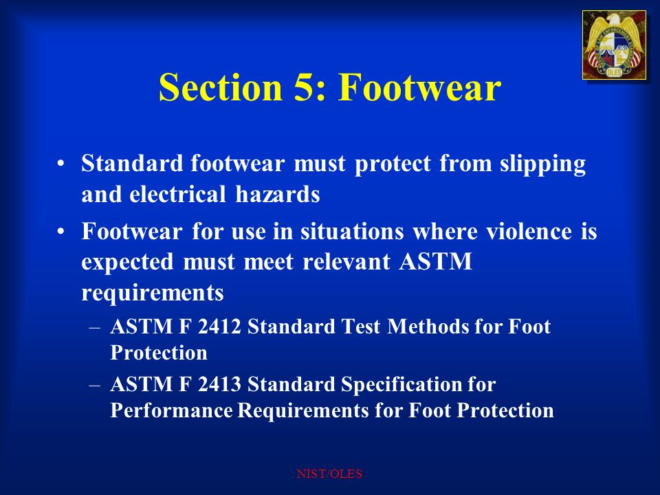 Section 5: Footwear Standard footwear must protect from slipping and electrical hazards.