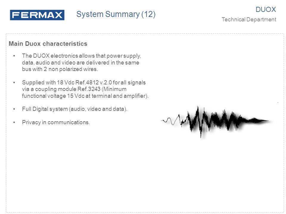 System Summary (12) DUOX Main Duox characteristics