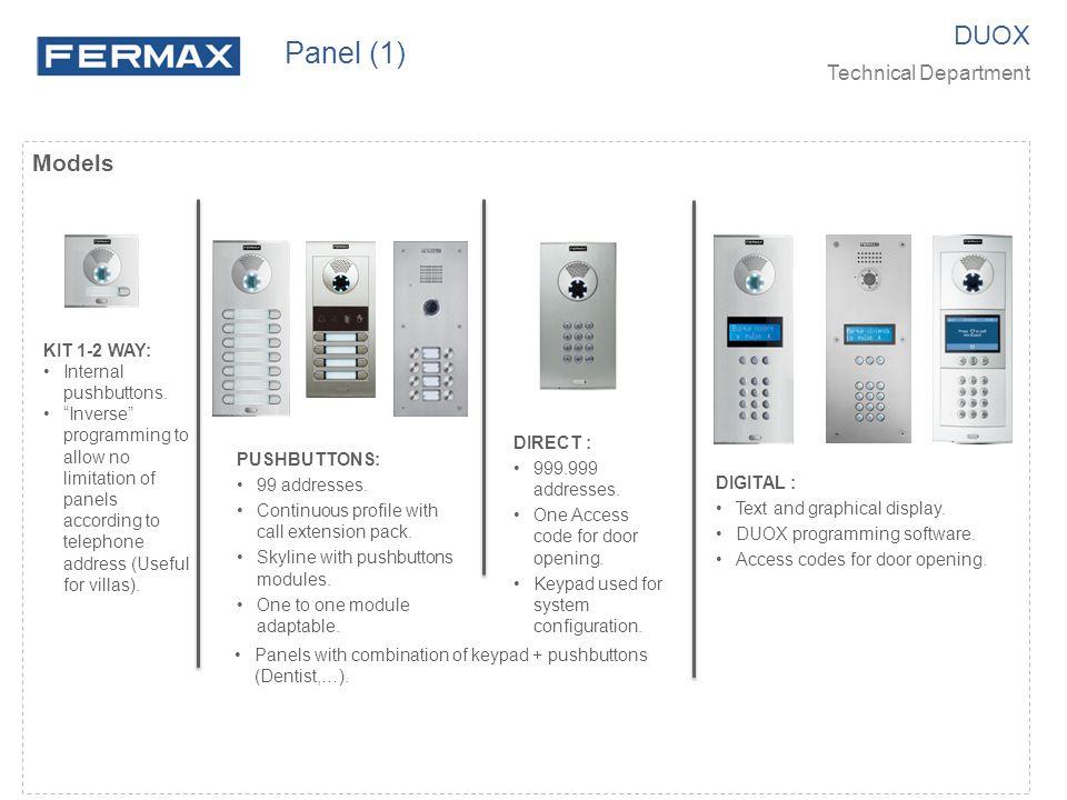 Panel (1) DUOX Models Technical Department KIT 1-2 WAY: