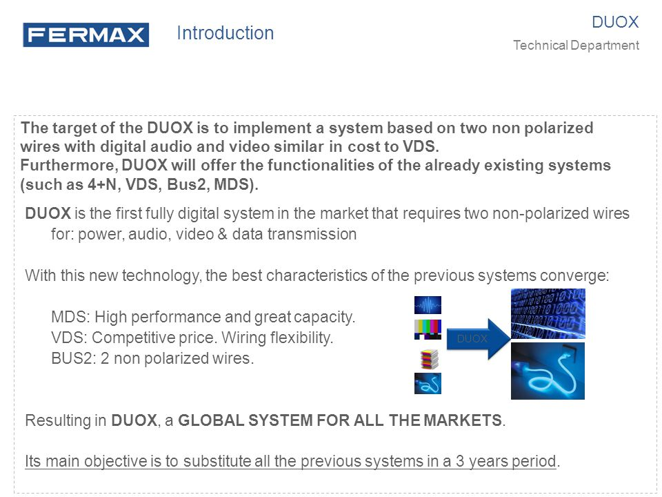 Introduction DUOX. Technical Department.