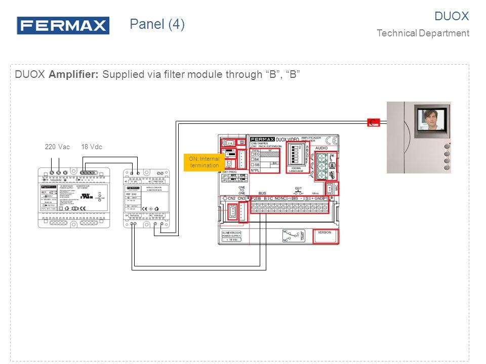 Panel (4) DUOX. Technical Department. DUOX Amplifier: Supplied via filter module through B , B