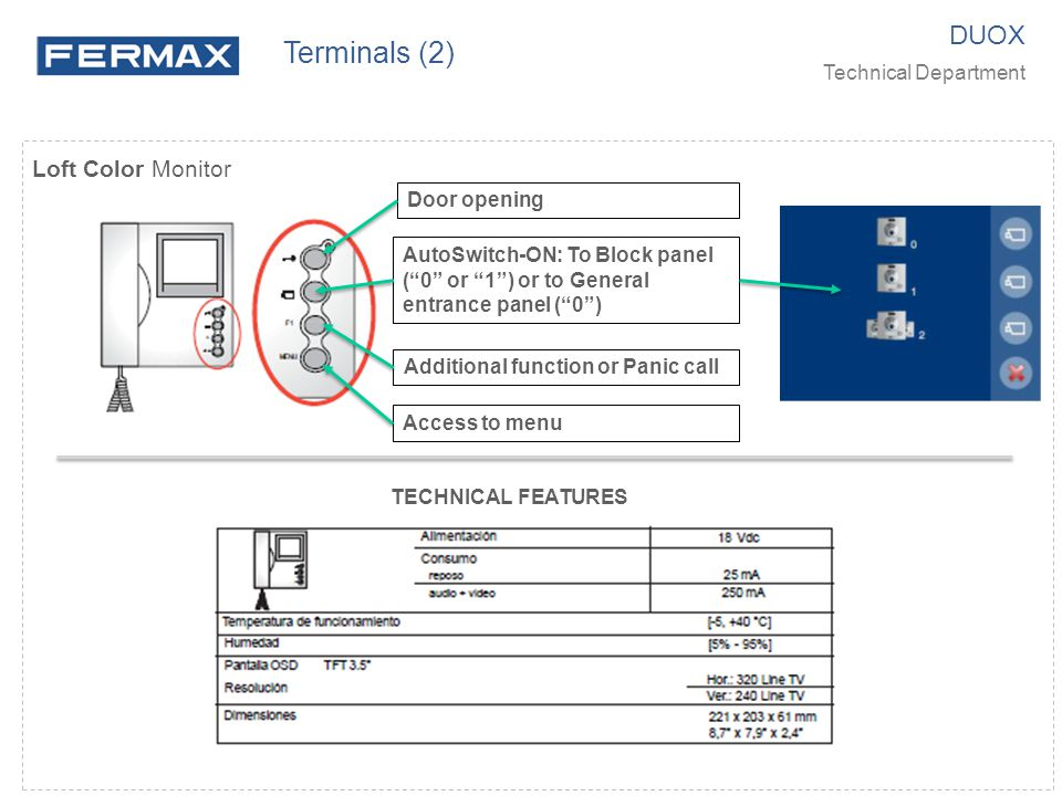 Terminals (2) DUOX Loft Color Monitor Technical Department