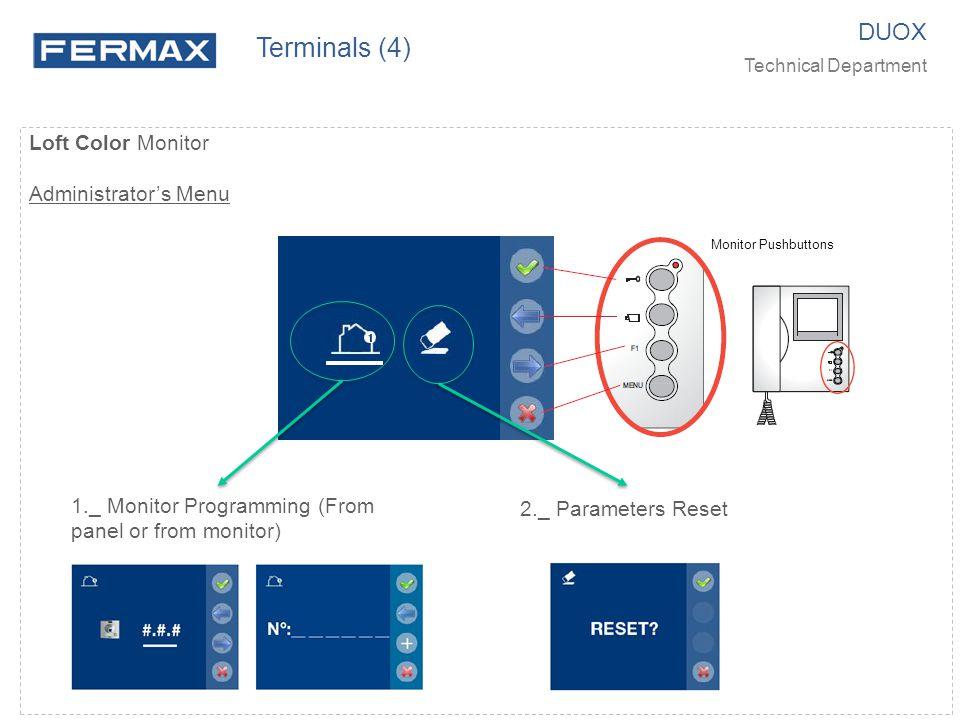 Terminals (4) DUOX Loft Color Monitor Administrator's Menu