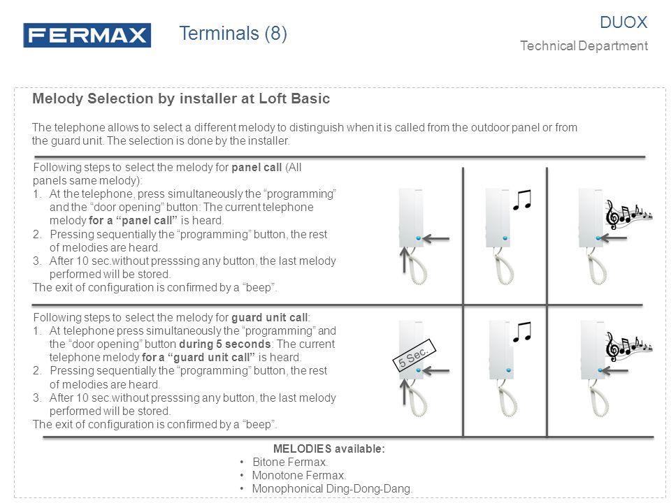 Terminals (8) DUOX Melody Selection by installer at Loft Basic