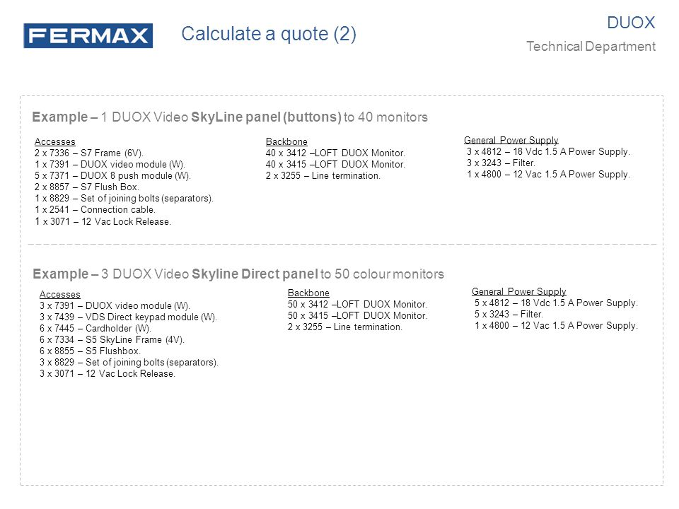 Calculate a quote (2) DUOX Technical Department