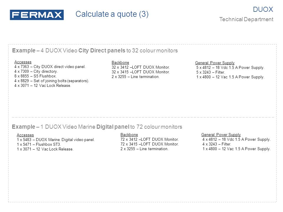 Calculate a quote (3) DUOX Technical Department