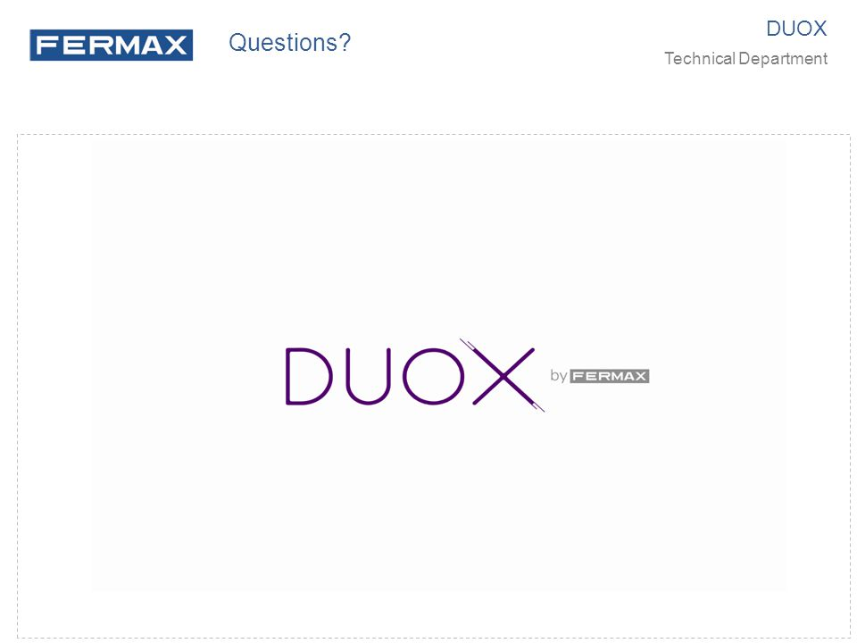 Questions DUOX Technical Department
