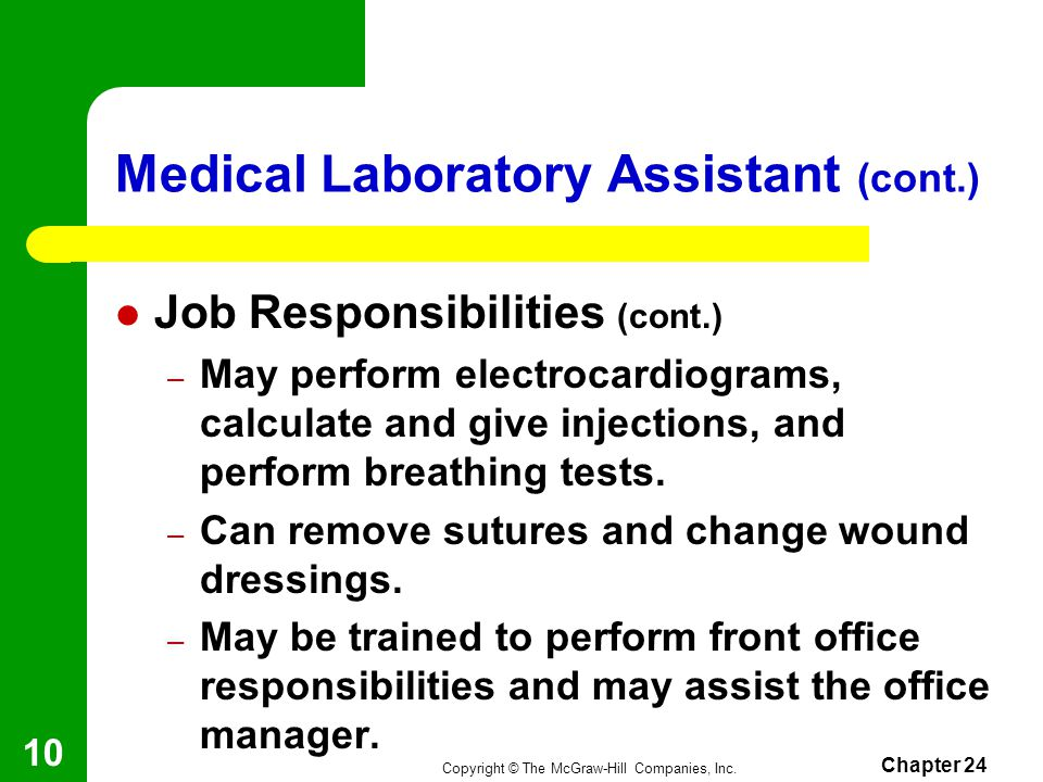Medical Laboratory Assistant (cont.)