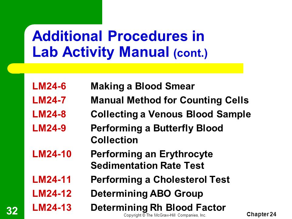 Additional Procedures in Lab Activity Manual (cont.)