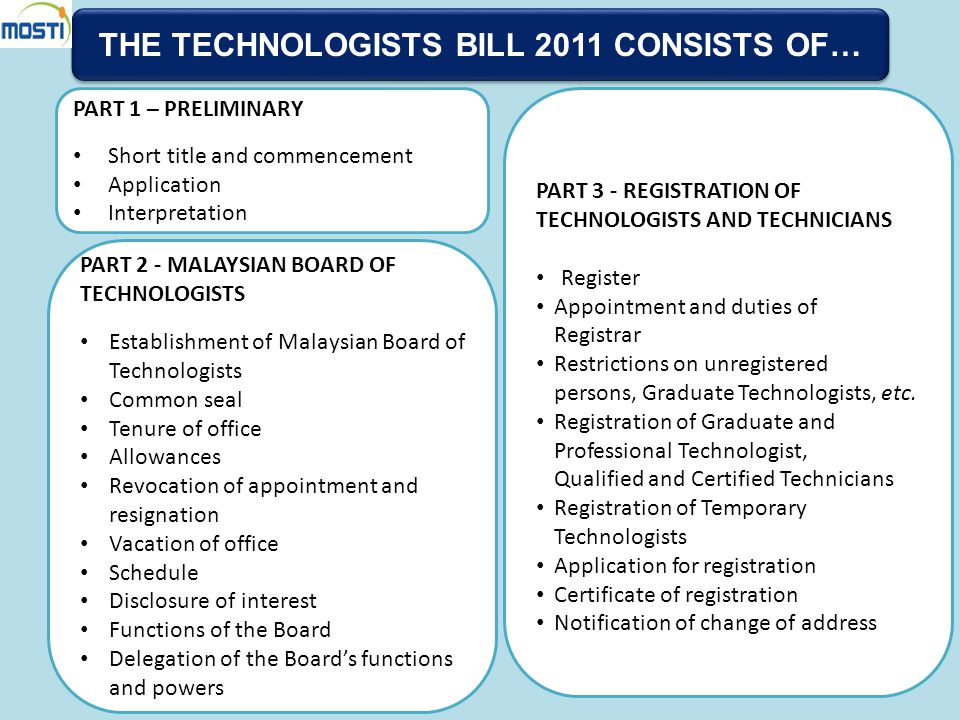 THE TECHNOLOGISTS BILL 2011 CONSISTS OF…