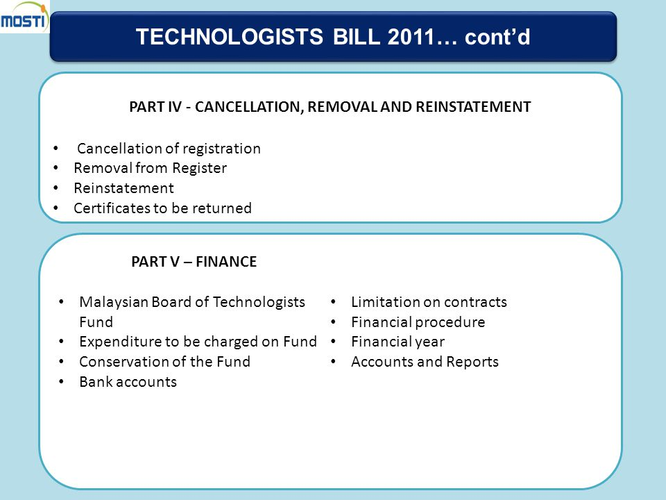 TECHNOLOGISTS BILL 2011… cont'd