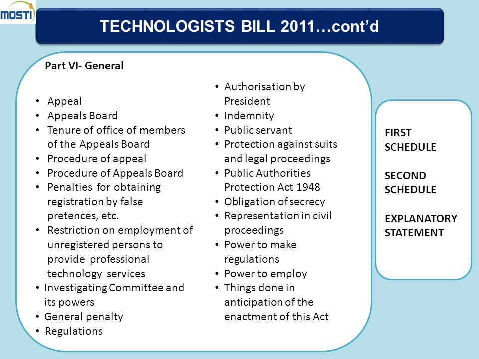 TECHNOLOGISTS BILL 2011…cont'd