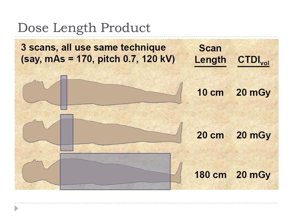 Dose Length Product Scanners often report the CTDI (think of as tube output… doesn't change with scan length) and.