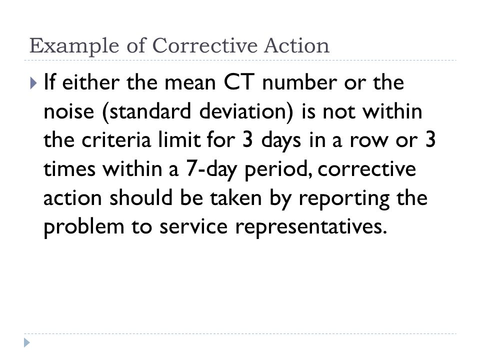 Example of Corrective Action