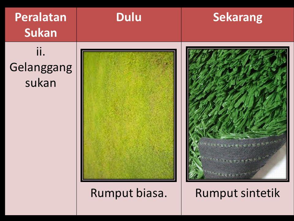 Peralatan Sukan Dulu Sekarang ii. Gelanggang sukan Rumput biasa. Rumput sintetik
