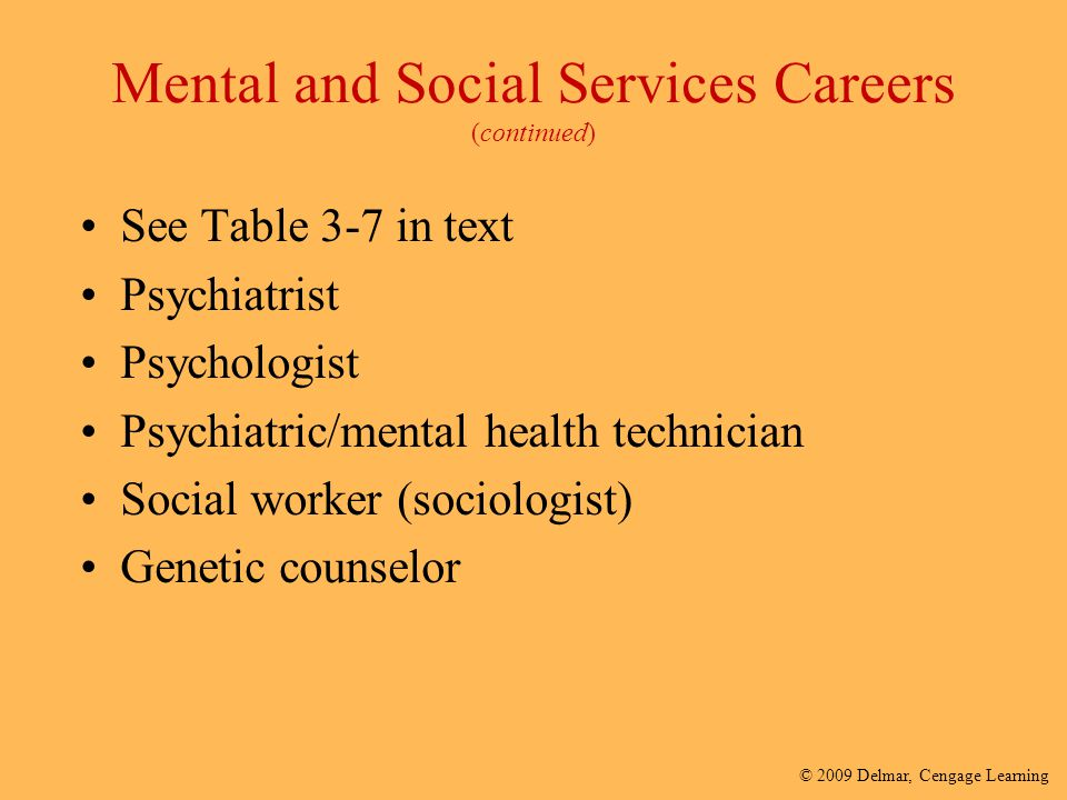 Mental and Social Services Careers (continued)