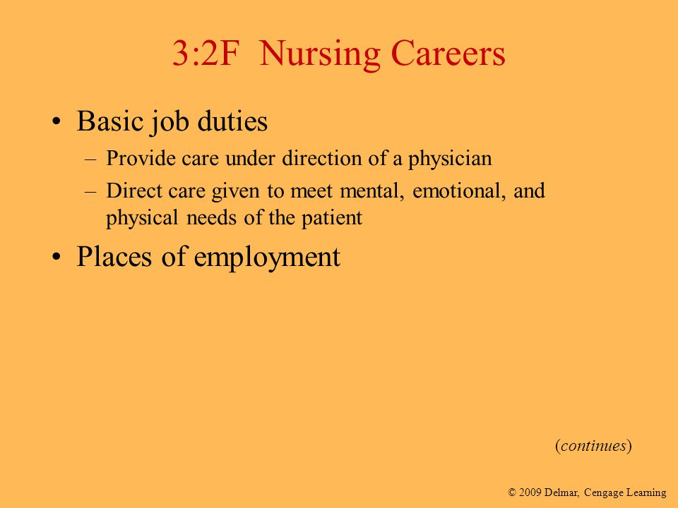 3:2F Nursing Careers Basic job duties Places of employment