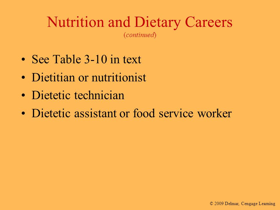 Nutrition and Dietary Careers (continued)