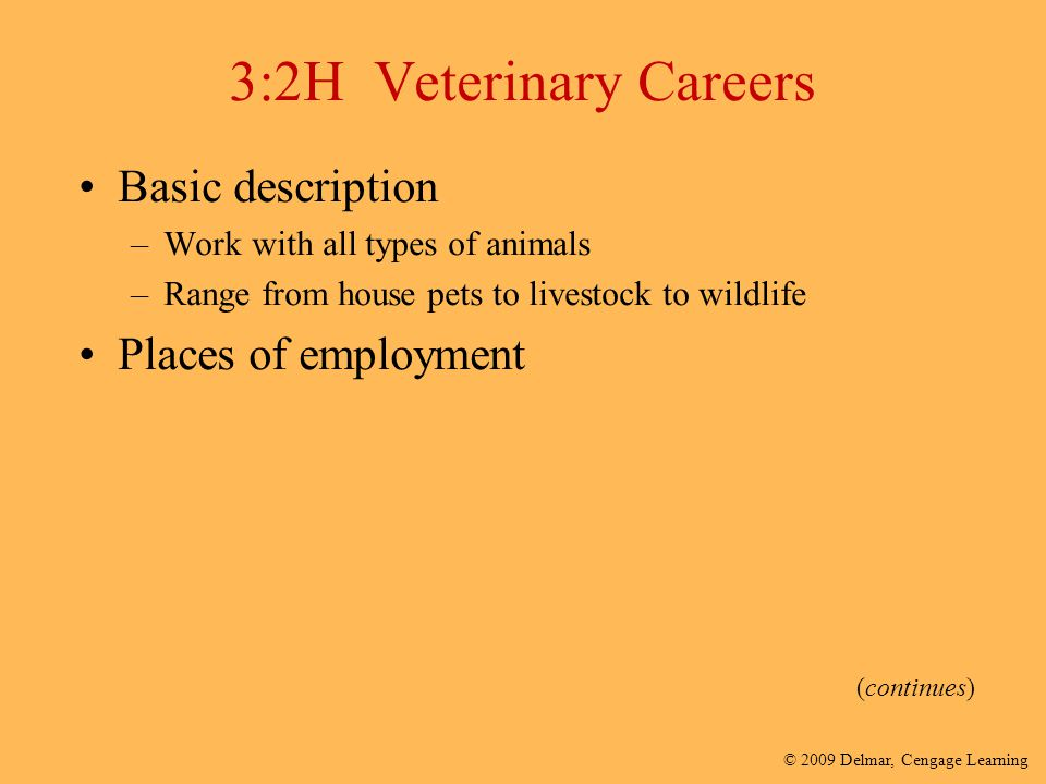 3:2H Veterinary Careers Basic description Places of employment