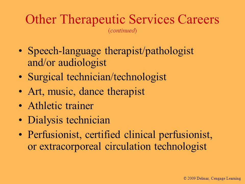 Other Therapeutic Services Careers (continued)