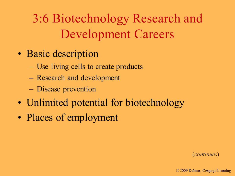 3:6 Biotechnology Research and Development Careers