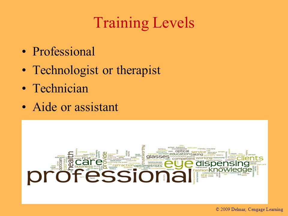 Training Levels Professional Technologist or therapist Technician