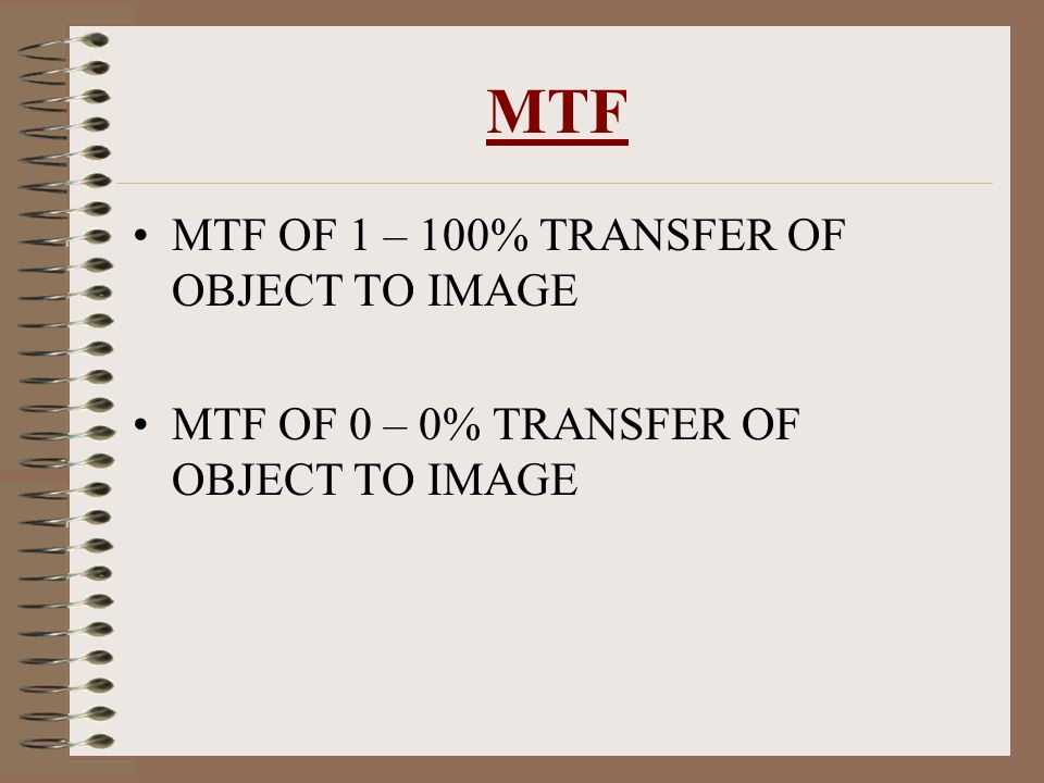 MTF MTF OF 1 – 100% TRANSFER OF OBJECT TO IMAGE