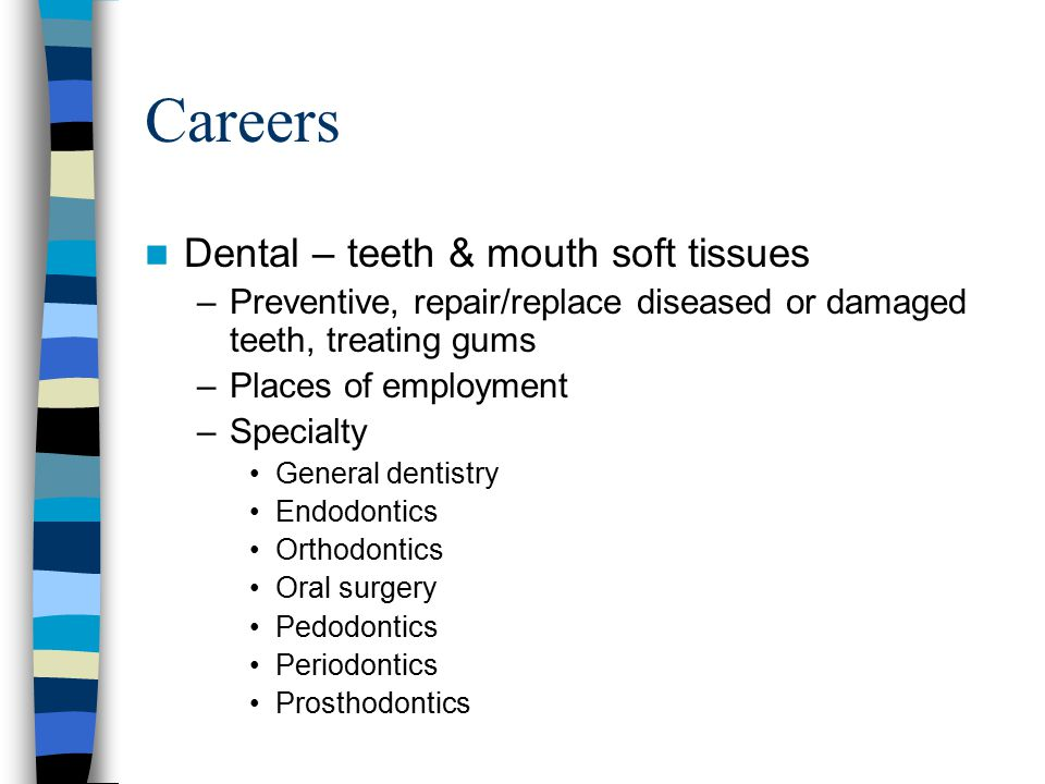 Careers Dental – teeth & mouth soft tissues