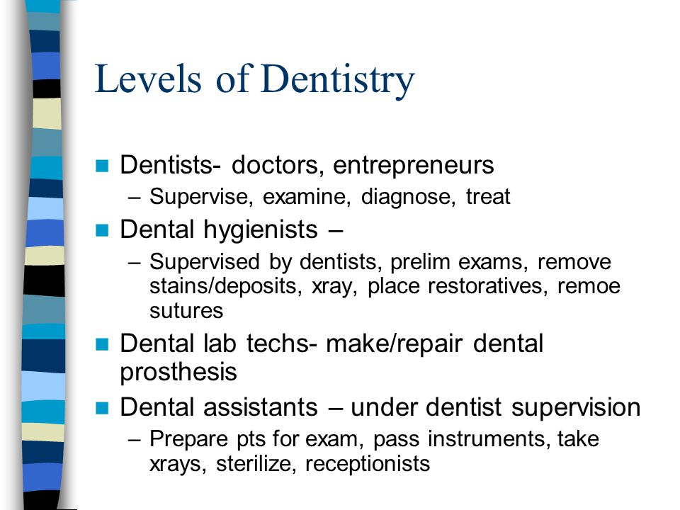 Levels of Dentistry Dentists- doctors, entrepreneurs