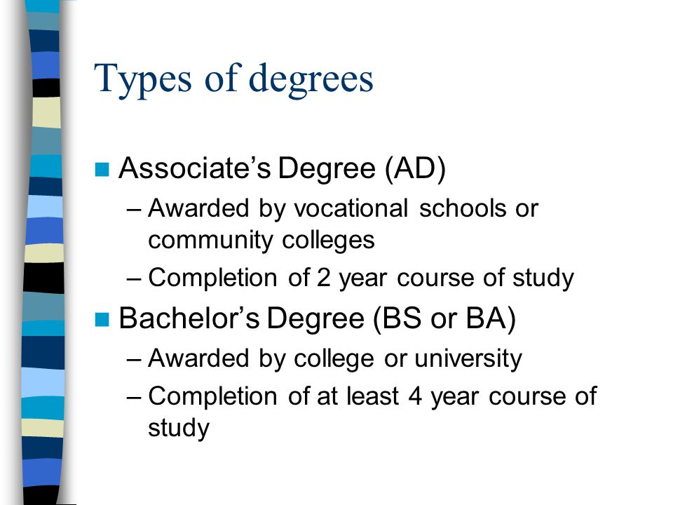 Types of degrees Associate's Degree (AD) Bachelor's Degree (BS or BA)