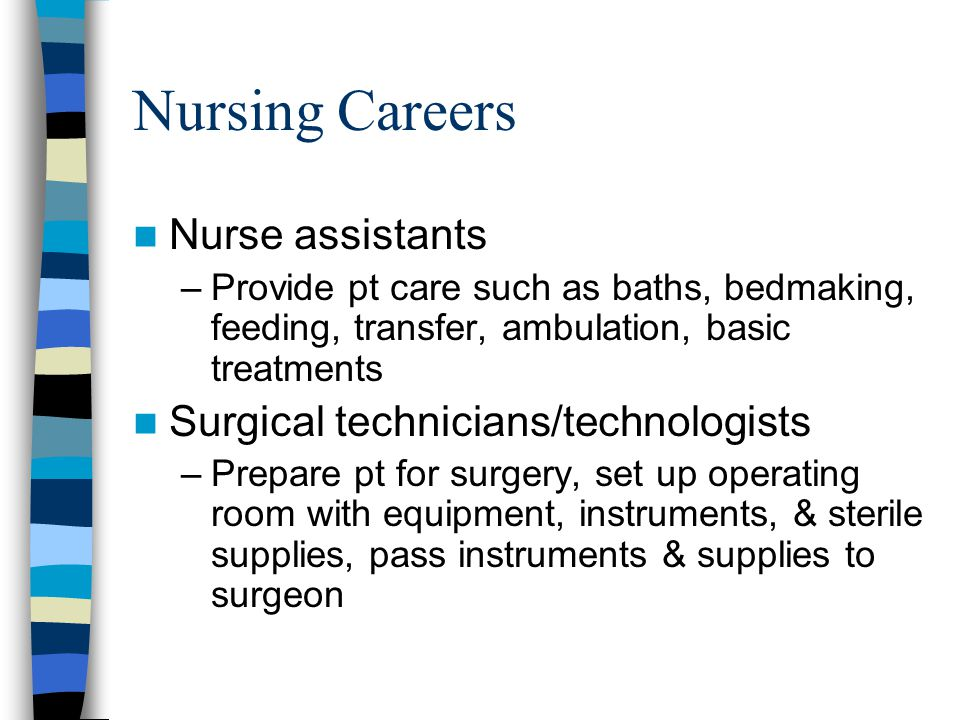 Nursing Careers Nurse assistants Surgical technicians/technologists