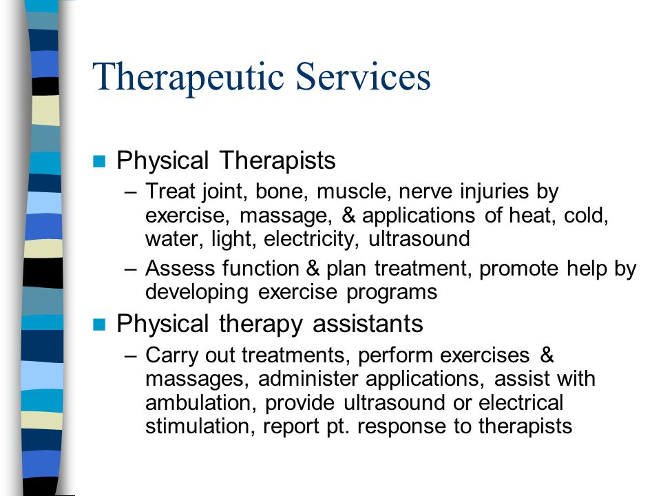 Therapeutic Services Physical Therapists Physical therapy assistants
