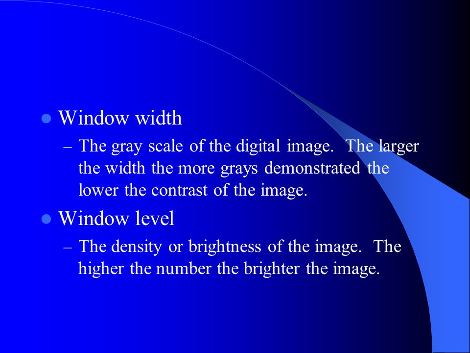 relationship of window width and contrast