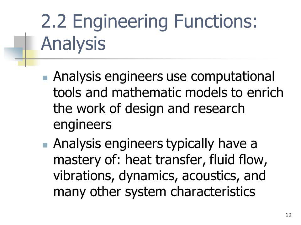 2.2 Engineering Functions: Analysis