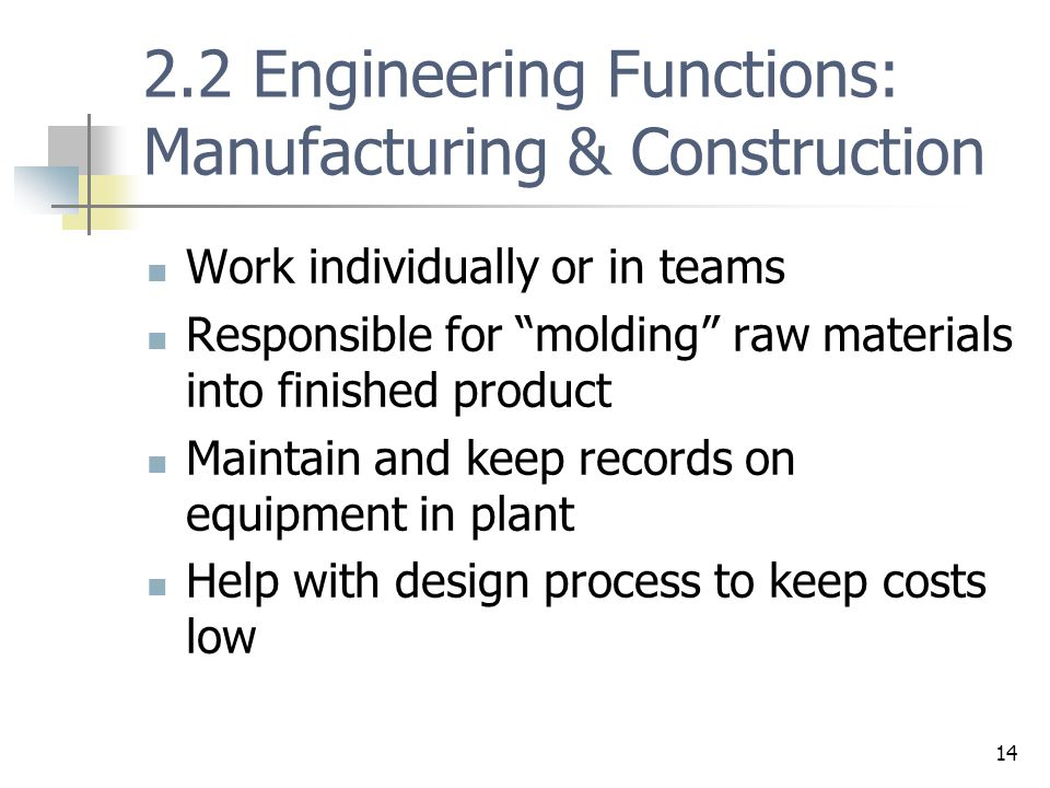 2.2 Engineering Functions: Manufacturing & Construction