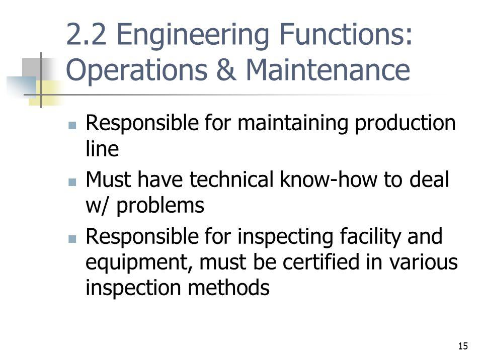 2.2 Engineering Functions: Operations & Maintenance