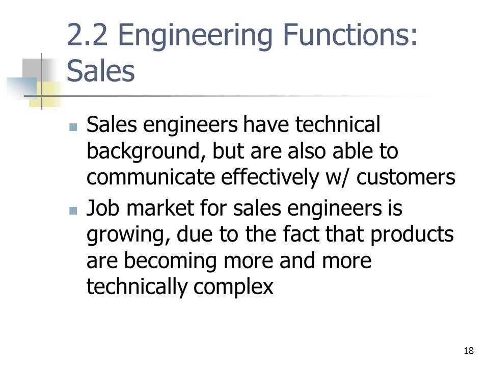 2.2 Engineering Functions: Sales