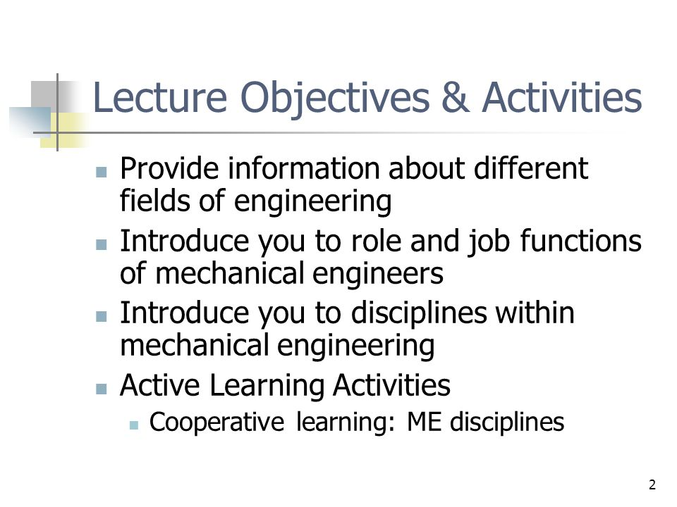 Lecture Objectives & Activities
