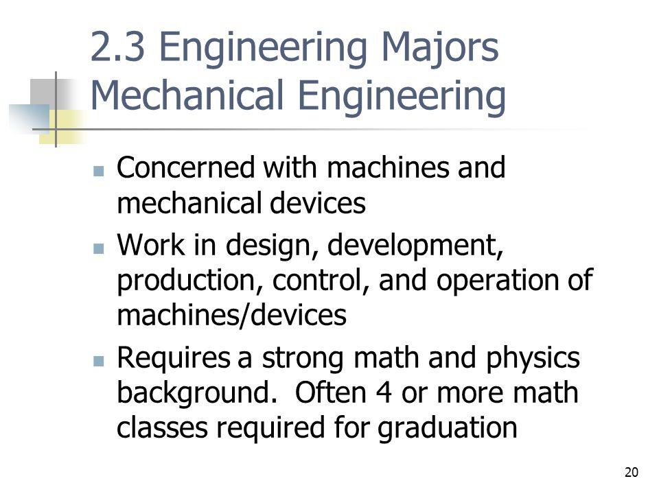 2.3 Engineering Majors Mechanical Engineering