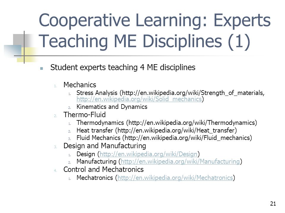 Cooperative Learning: Experts Teaching ME Disciplines (1)