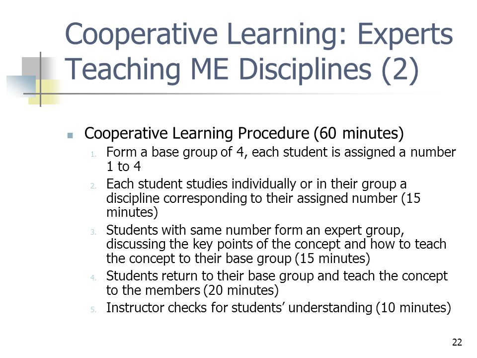 Cooperative Learning: Experts Teaching ME Disciplines (2)