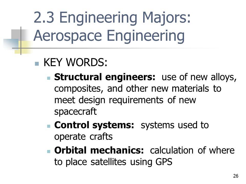 2.3 Engineering Majors: Aerospace Engineering