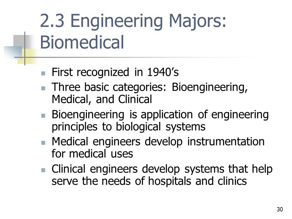 2.3 Engineering Majors: Biomedical