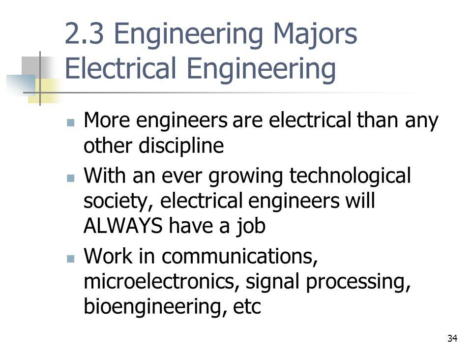 2.3 Engineering Majors Electrical Engineering