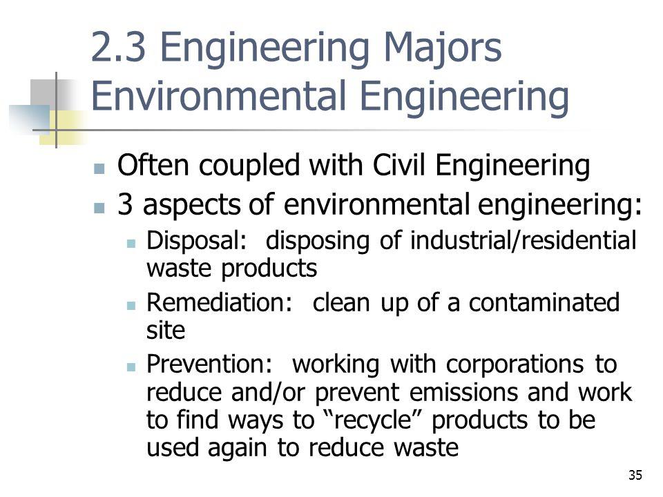 2.3 Engineering Majors Environmental Engineering
